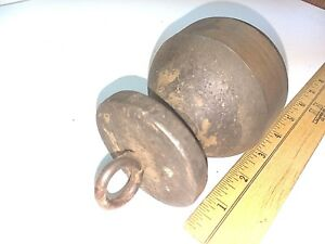 Vintage Round Cast Steel Counter Balance Gate Scale Weight 4 Lb 10 Oz