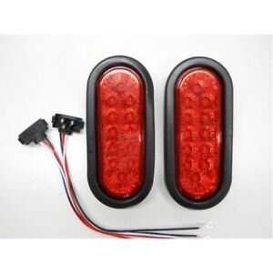 Red 12 Led 6 Oval Truck Trailer Stop Turn Brake Tail Light Kits Reflective