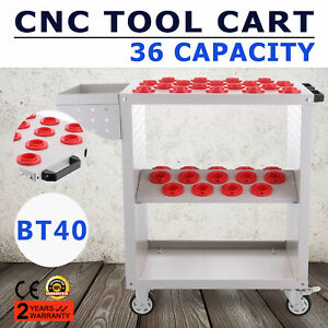 Bt40 Cnc Tool Trolley Cart Holders Toolscoot White Metalworking Nmbt40 Storage