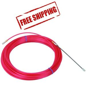 50 Ft Nylon Fish Tape Electrical Cable Puller No Kink Red Electrician Conduit