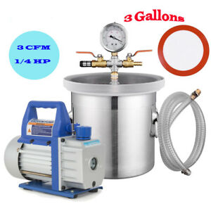 3 Gallons Vacuum Chamber Silicone Expoxy Degassing With 3cfm 1 4hp Vacuum Pump