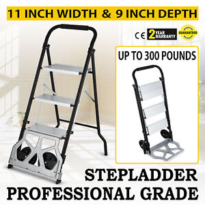 Step Ladder Folding Cart Dolly 175lbs Hand Truck With Two Wheels 2 In 1 Ladder