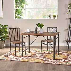 Balthazar Industrial Faux Wood 3 Piece Desk And Chairs Set By Christopher Knight