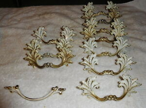 French Provincial Vintage Lot Of 10 Drawer Pulls Handles 1 Hardware Drawer