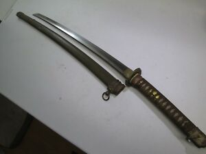 Wwii Japanese Samurai Sword Unsigned With Scabbard Very Clean Thick Blade C44