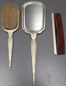 Vintage Slb Saart Brothers Sterling Silver 3 Piece Vanity Set Mirror Brush Comb