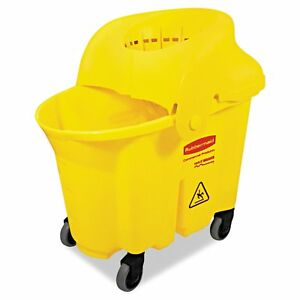 Rubbermaid Commercial Wavebrake Institutional Yellow Bucket strainer Combo
