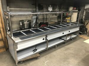 120 10ft Stainless Steel Steam Table Electric 9 Pans 220 Volts W sneeze Guard