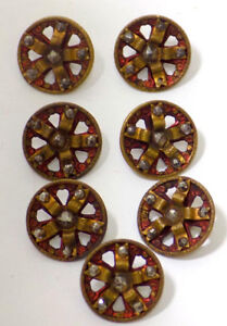 7 Unusual Antique Brass Openwork Buttons Red Tint Riveted Cut Steel Facets