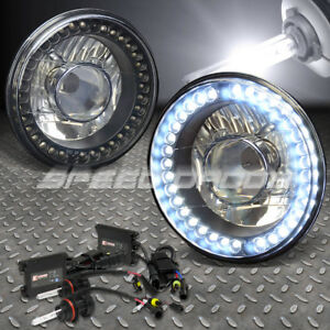 7x7 Round Black Projector Led Headlights 6000k Hid slim Ballast For Ford jeep