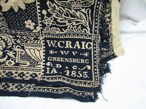 Early Coverlet Loom Woven Bed Spread 1853 Craig Greensburg Indiana Blanket Linen
