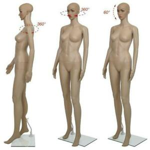 5 7ft Female Mannequin Plastic Realistic Display Head Turn Full Body Form W base