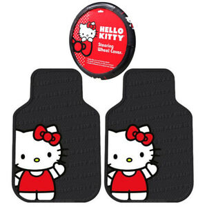 Sanrio Hello Kitty Core Car Truck 2 Front Rubber Floor Mats Steering Wheel Cover