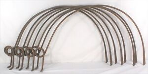 Antique Hay Dump Rake Tines teeth Double Pigtail Spring Farm Implement Lot Of 8
