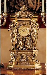 Ornate Classic Greek Replica 20 Mantel Clock Antique Gold Finish Table Clocks
