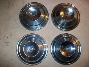 1968 1969 Chevy Camaro Nova Chevelle 4 10 Dog Dish Hubcaps 68 69 Poverty Caps