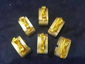 Vintage Silver Plate With Gold Bows Napkin Rings Set Of 6