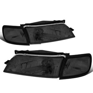 Fit 1997 1999 Nissan Maxima Pair Smoked Hosuing Clear Corner Headlight Lamps