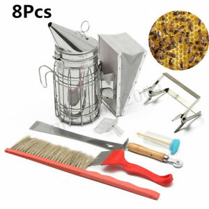 8pcs 11 Bee Hive Smoker Heat Shield Beekeeping Equipment Set Queen Catcher