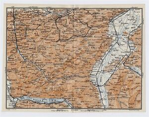 1911 Map Vicinity Of St Gallen Appenzell Herisau Walensee Alps Switzerland