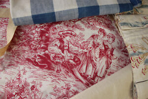 Vintage French Fabric Antique Material Project Bundle Toile Vichy Floral Curtain