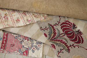 Vintage French Fabric Antique Material Project Bundle Pale Striped Linen Floral