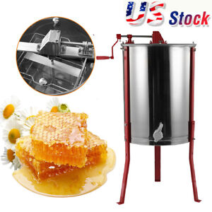 4 Frame Manual Honey Extractor Stainless Steel Beekeeping Equipment Durable