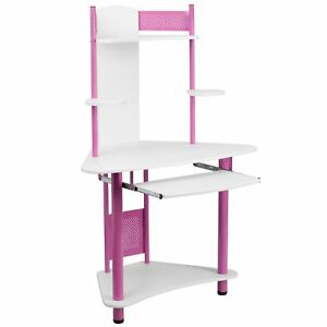 Petron Pink Wood metal Computer Desk With Hutch