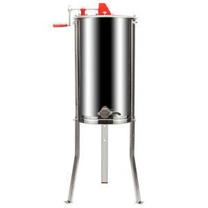 2 Frame Honey Extractor Stainless Steel Beekeeping Equipment Silver Stand Bee