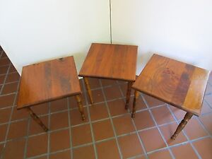 Vintage Set 3 Solid Wood Nesting Stacking Tables Square 15 Turned Legs Retro