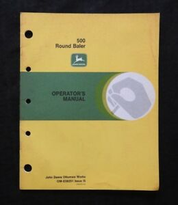 Genuine 1975 John Deere No 500 Round Balers Operators Manual Very Good Shape