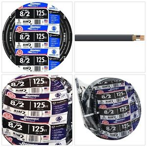 Southwire Romex Simpull Nm b Cable Wire 125 Ft 8 2 Black Stranded Building Wire