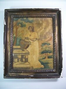 Antique Silk Needlework Embroidery Rebecca At Well 19th Century Georgian 8073