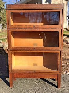 Antique Globe Wernicke 3 Stack Barrister Mission Bookcase
