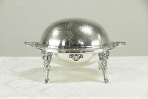 Victorian Antique English Silverplate Serving Dome Horse Arms Signed 30079