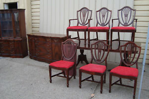 59614 Antique Dining Room Set China Table W 6 Shield Back Chairs Buffet