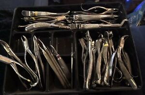 Lot Of 38 Vintage Dental Instruments Dentist Tools Extractors Elevators Tool