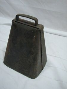 Antique Lg Wrought Iron Goat Cow Bell Animal Farm Tool Primitive Noise Maker B