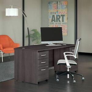 Studio C 72w Bow Front Desk With Mobile File Cabinets In Storm Gray