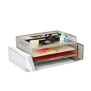 Mind Reader Desk Organizer With 2 Side Storage Compartments Silver