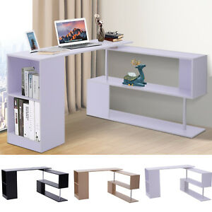 360 Rotating Corner Desk And Storage Shelf Combo L shaped Table Home Office