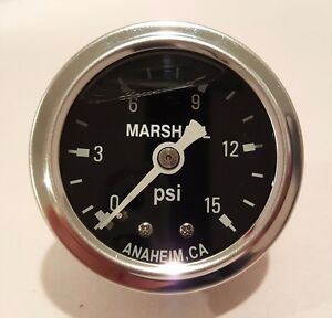 Marshall Gauge 0 15 Psi Fuel Pressure Gauge Black 1 5 Diameter Liquid Filled