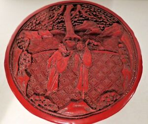 Deep Carved Red Chinese Cinnabar Lacquer Round Covered Box Figures Landscape 4