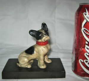 Antique 311 Hubley Usa Toy Frenchy Dog Cast Iron Desk Paperweight Bulldog Statue