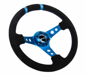 Nrg Steering Wheel 350mm Blue Spokes Finish Black Suede 3 Deep Dish W Horn