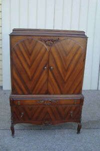 59175 Antique Walnut 2 Tone Chifferobe Wardrobe Cabinet High Chest Dresser