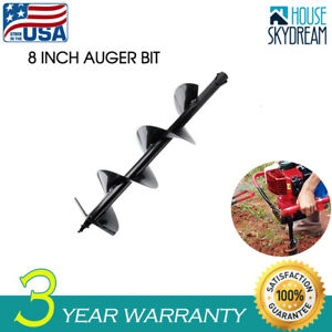 8inch Auger Earth Post Hole Digger Bit Carbon Steel Wide Skid Steer Drill