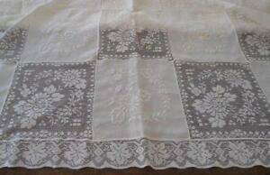 Vintage Embroidered Army Navy Lace Banquet Tablecloth Linen Floral Wreath 90