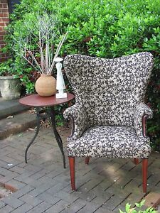 Amazing Vintage Hollywood Regency Shapely Wing Chair