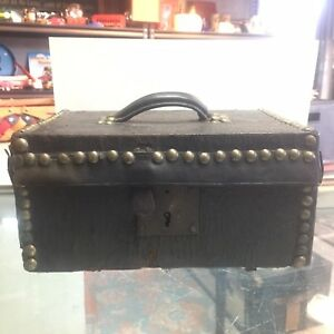 Antique Leather And Wood Small Valuables Box Trunk With Lock